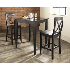 Three Piece Pub Dining Set with Tapered Leg Table and X-Back Barstools in Black
