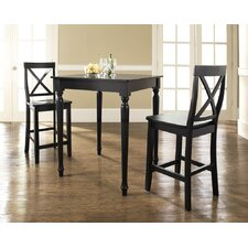 Three Piece Pub Dining Set with Turned Leg Table and X-Back Barstools in Black