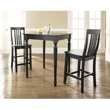 Three Piece Pub Dining Set with Turned Leg Table and Barstools in Black