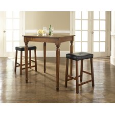 Three Piece Pub Dining Set with Turned Leg Table and Saddle Seat Barstools in Classic Cherry