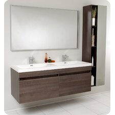 "Senza 56.5"" Largo Modern Bathroom Vanity Set with Wavy Double Sinks"