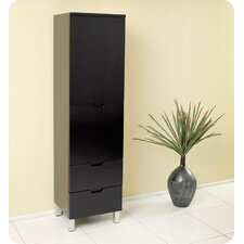 Espresso Bathroom Linen Cabinet with 4 Storage Areas