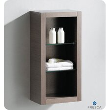 Bathroom Linen Side Cabinet with 2 Glass Shelves