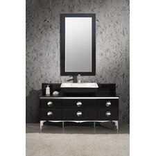 "Moselle 59"" Modern Glass Bathroom Vanity Set with Mirror"