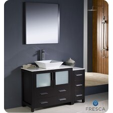 "Torino 48"" Modern Bathroom Vanity Set with Side Cabinet and Vessel Sink"