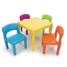Kids' 5 Piece Plastic Table and Chair Set