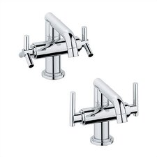 Atrio Low Spout Lavatory 2 Handle Single Hole Bridge Faucet Set