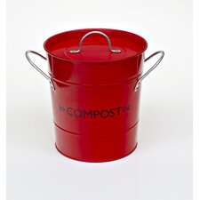 Compost Bucket with Liner in Red