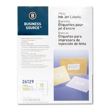 "Mailing Labels, Shipping, Inkjet, 2""x4"", 1000 per Pack, White"