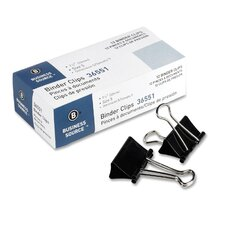 "Binder Clip, Medium, 1-1/4""W, 5/8"" Capacity, Black"