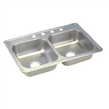 "Dayton 33"" x 22"" Top Mount Double Bowl Kitchen Sink"