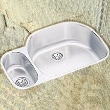 "Lustertone 31.5"" x 21.13"" x 7.5"" Double Bowl Undermount Kitchen Sink with Reveal Rim"