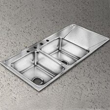 "Lustertone 48"" x 22"" 4-Hole Self Rimming Double Bowl Kitchen Sink with Single Drainboard"