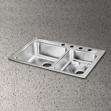 "Lustertone 33"" x 22"" Double Bowl Kitchen Sink with Disposer Drain"