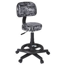Graffiti Print Deluxe Grooming Stool in Black