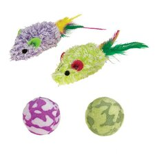 Terry Mice and Rattle Ball Cat Toy (4 Pack)