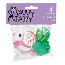 Rattle Bird and Balls Cat Toy (Set of 4)