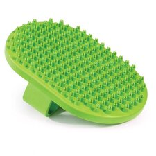 Rubber Curry Pet Brush Oval with Handstrap