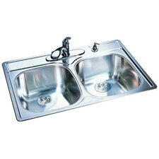 "33"" x 22"" x 8.5"" 18 Gauge Double Bowl Kitchen Sink"