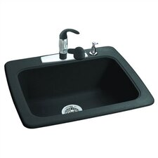 "25"" x 22"" 4 Hole Granite Single Bowl Kitchen Sink"