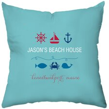 Personalized Beachy Baby Poly Cotton Throw Pillow