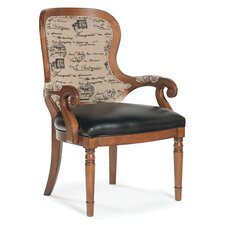 Curved Back Occasional Leather Arm Chair