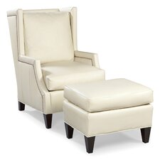 Leather High Back Wing Chair and Ottoman
