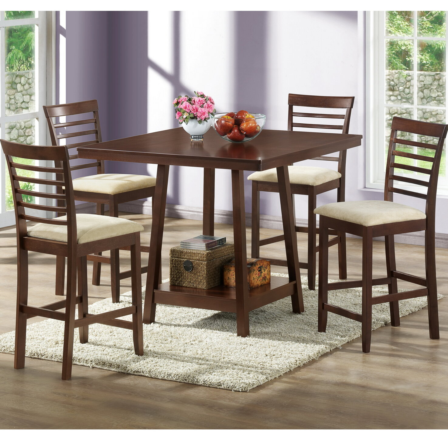 Buy Now Pay Later Wholesale Interiors Baxton Studio 5 Piece Counter Height Dining Set