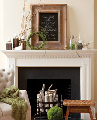 earthy mantel decorating