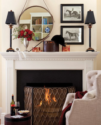 equestrian mantel decor