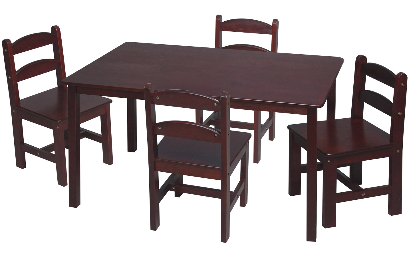 Kids 5 pc Table And Chair Set Childrens Furniture Rectangular Cherry Finish W